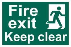 DRAPER 'Fire Exit Keep Clear' Safety Sign